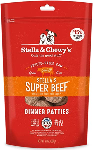 Stella Chewy S Freeze Dried Raw Stella S Super Beef Dinner Patties Grain Free Dog Food