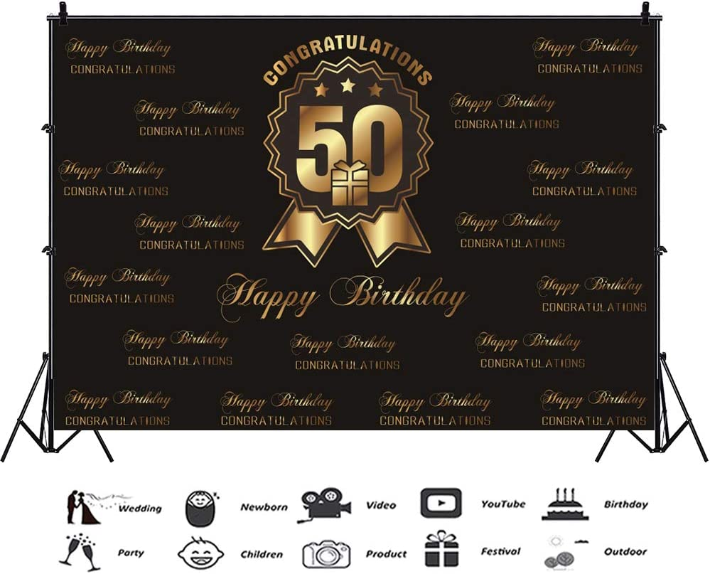 Yeele 5x4ft Vinyl Happy 50Th Birthday Party Backdrop for Photography Congratulations 50 Anniversary Party Decoration Banner Background 50 Years Old Photo Booth Shoot Studio Props