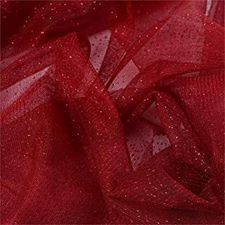 BalsaCircle 54-Inch x 15 Yards Burgundy Sparkle Glittered Net Tulle Fabric by The Bolt - Sewing Craft Wedding Favors Supplies