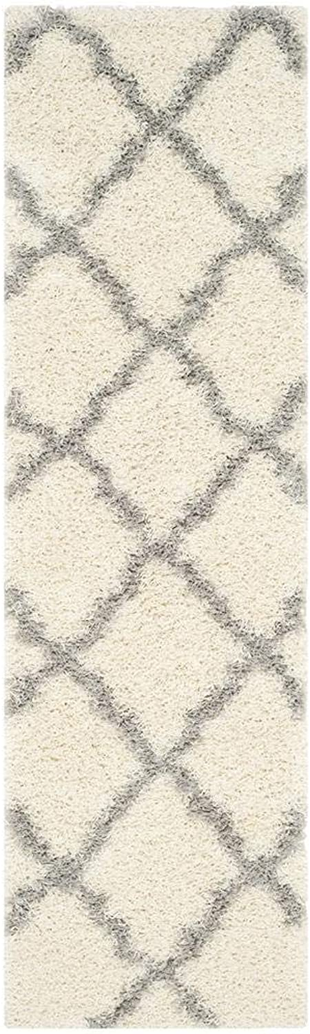 Safavieh Dallas Shag Collection SGD257F Ivory and Grey Runner (2'3  x 14')