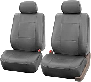 FH Group Universal Fit Front Solid Car Seat Cover - Faux Leather (Gray), Set of 2
