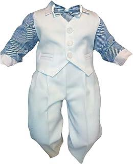 Taufanzug Baby Junge Kinder Hochzeit Anzüge Festanzug, 4tlg , Weiß-Blau K5A