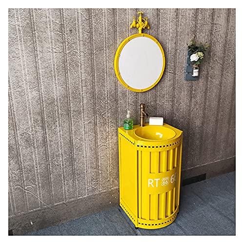 MBY Creativo Lavabo con Pie Pequeño Apartamento, Bar Retro Lavabo De Pedestal con Grifo Y Desagüe, Lavamanos De Baño Exquisito Antioxidante para Hotel Cafe(Color:Amarillo + Espejo)