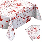 Newwiee Scary Halloween Blood Handprints Tablecloths, 102 x 51 Inch Bloody Zombie Table Cover Halloween Party Supplies Haunted Decoration for Hospital Zombie Halloween Party Decorations (3 Pieces)
