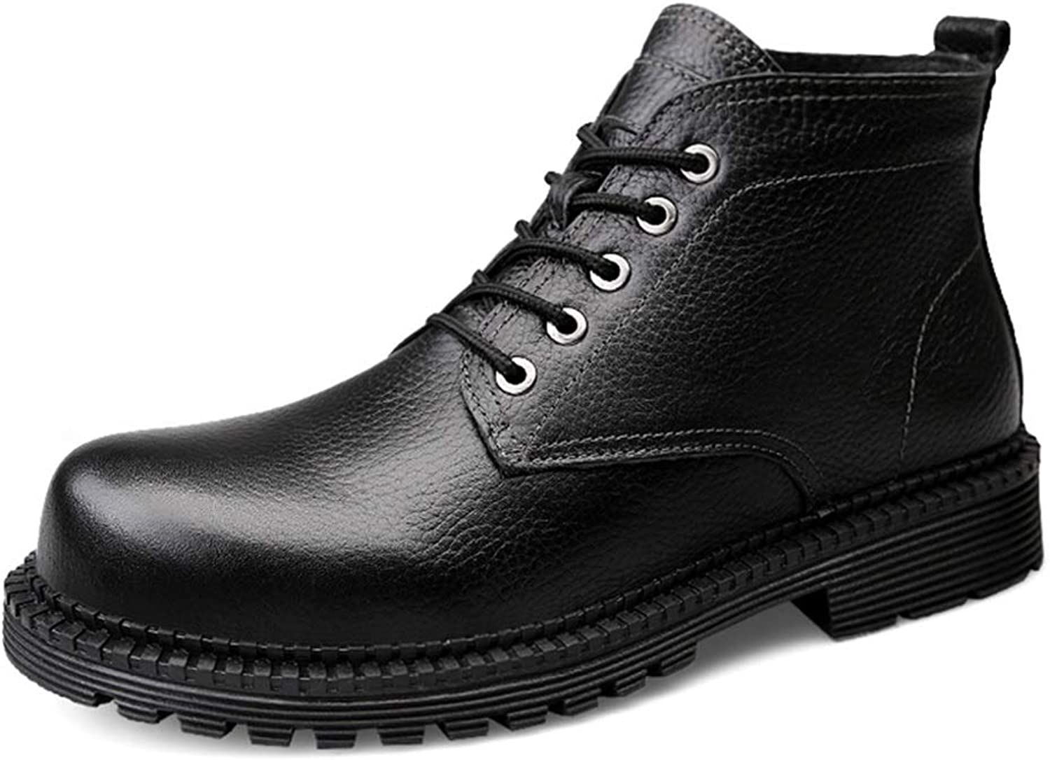 YJiaJu Fashion Ankle Work Boot, Casual Simple Winter Faux Fleece Inside High Top Boot(Conventional Optional) for Men Women (color   Black, Size   8.5 D(M) US)