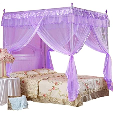 1xBed Canopy Small Double Hixonair 4 Corners Post Bed Curtain for Girls Princess Mosquito Net-Bed Decoration ,Black