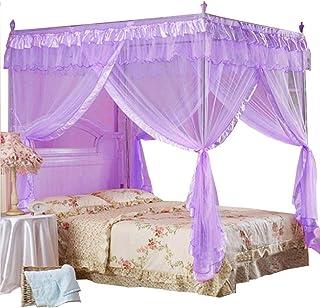 Mengersi Princess 4 Corners Post Bed Curtain Canopy Netting for Girls Boys Kids(Purple, Twin)