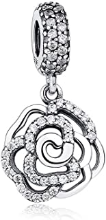 Magnolia Bloom/Rose/Cherry Flower Charm Pink Enamel & CZ Silver Bead Fit Pandora Charm Bracelet