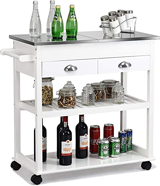 Giantex Kitchen Trolley Cart Rolling Island Cart W Stainless Steel Flip Top Cutting Table 2 Drawers 2 Shelves Multipurpose Storage Cart Microwave Cart With Towel Rack And Casters White