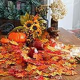 400 Stück Künstliche Ahornblätter Herbstlaub Kunst Farben Simulation Ahornblatt Perfekte Herbst Dekoration,Herbst Hochzeit Dekorationen-4 Farben - 4