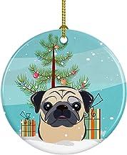 Caroline's Treasures Christmas Tree and Fawn Pug Ceramic Ornament, Multicolor