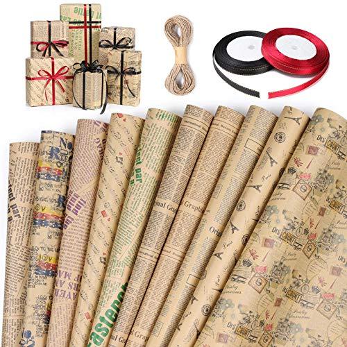Geschenkpapier, GuKKK 10 Stücke Geschenkpapier Geburtstag und 3 Rolle Band, Geschenkpapier Kinder, Geschenkverpackung Papier für Weihnachten, Kindertag, Valentinstag, Muttertag(70 cm x 50 cm)