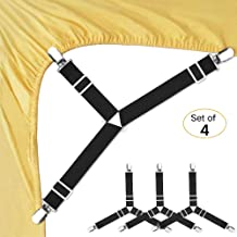 Bed Sheet Fasteners, 4 PCS Adjustable Triangle Elastic Suspenders Gripper Holder Straps..