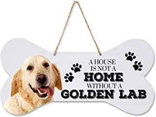 """LifeSong Milestones Golden Labrador Retriever Gifts,Pet Quote Dog Bone Wall Hanging Sign, Dog Lovers Gifts for Women, Dog Owner Gift Ideas for Home Decorations, 8"""" x 16"""" (White Dog Bone- Golden Lab)"""