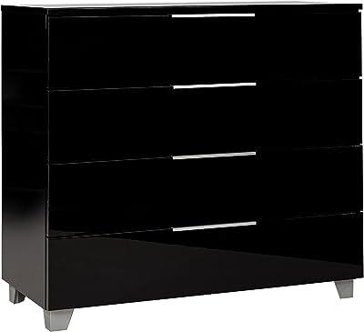 MEUBLE COSY Buffet Moderne Meuble de Rangement avec 4 tiroirs Grand Espace Armoire Chambre Console Entree pour Salon Cuisine, Noir, 88x40x81cm