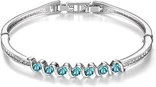 Menton Ezil Candy 18K White Gold Plated Seven Stones Bangle Bracelets Swarovski Jewelry - Gift for Her
