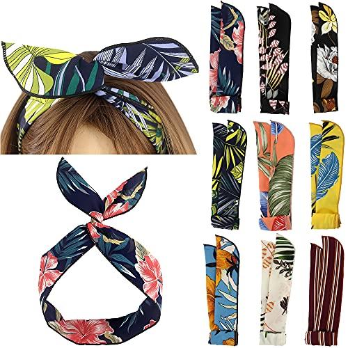 Yeshan Diadema de alambre con diseño de hojas de alambre para el pelo, diseño vintage, estilo bohemio, estampado floral, para mujeres y niñas, paquete de 9
