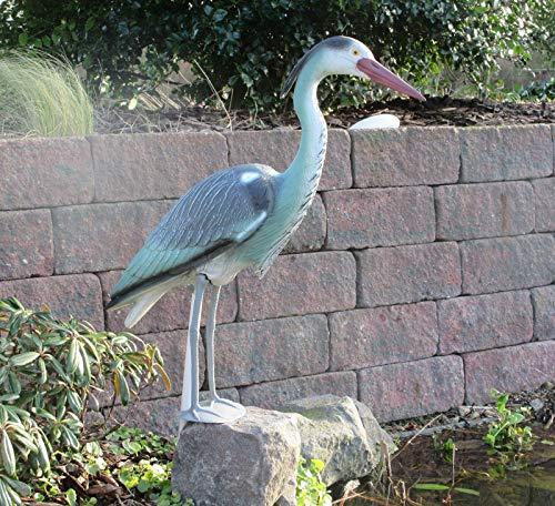 Dekofigur Reiher Schutz gegen Fischreiher Teichfigur 73 cm Gartenschreck Vogelschreck Gartenfigur mit Erdspieß
