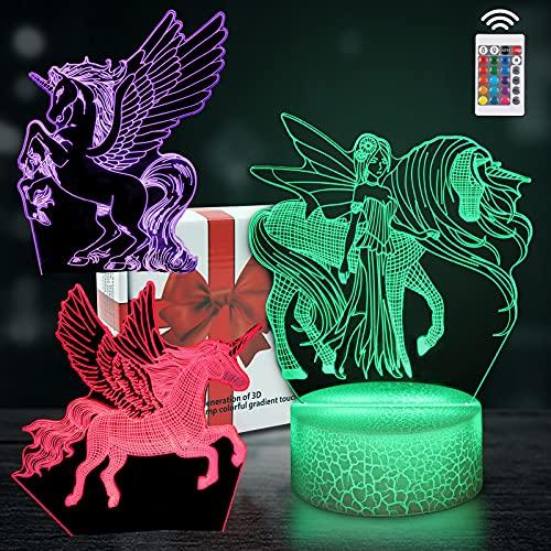 DigHealth Luz de Nocturna 3D, LED Ilusión Optica Lámpara, Control Remoto 16 Colores, USB Recargable, Base de Lámpara Toque Inteligente Regulable, Luz Noche Cabecera para Niño