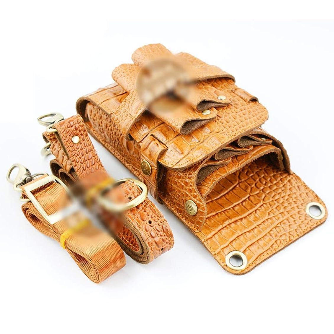 鋸歯状掻く廃棄Xingfuzhijia 革のはさみバッグ、サロンヘアスタイリストのためのワニパターン理髪ツール収納袋 (色 : イエロー)