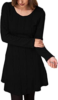 Women's Cable Knit Crewneck Sweater Dress Casual Fall Pullover Top