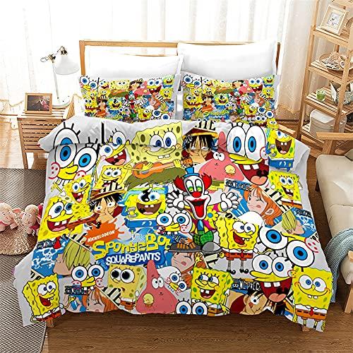 AZJMPKS Spongebob - Juego de ropa de cama infantil, diseño de Bob Esponja anime, funda de edredón, funda de almohada, individual, microfibra, adecuado para niños (A14, 200 x 200 cm + 75 x 50 cm x 2)