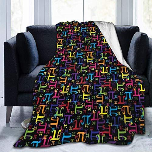 Lsjuee Rainbow PI Franela Fleece Blanket Ultra Soft Cozy Warm Throw Ligero Microfleece para Home & Pound; & uml; 3 Tamaños & Pound; Negro