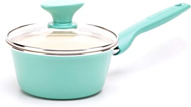GreenPan Rio Healthy Ceramic Nonstick, Saucepan with Lid, 1QT, Turquoise