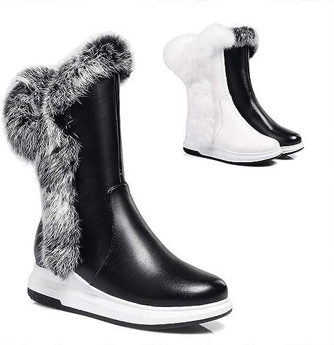 ZHRUI Chaussures pour Femmes - Bottes de de de Neige Chaudes et épaisses pour l'hiver Chaussures en Coton à Fond Plat avec Tube de Velours Fermeture à glissière latérale 34-43 c0c