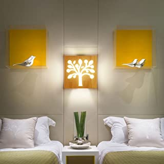 MX Light Fixture Nordic Creative Modern Minimalist Bedroom Bedside Solid Wood Square LED Wall Lamp (Color : A)