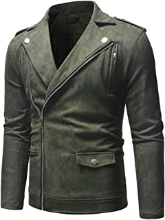 MIS1950s Men's Casual Motorcycle Jacket Faux Leather Jacket Zipper Outerwear Coat