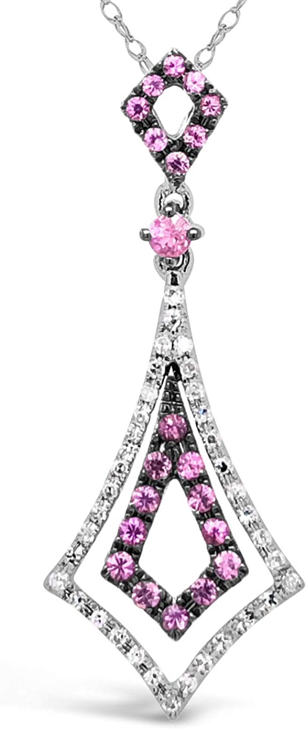 Popular products 10K White Gold Pink Sapphire Gemstone Quantity limited Pendan Ct Diamond 1 10 And