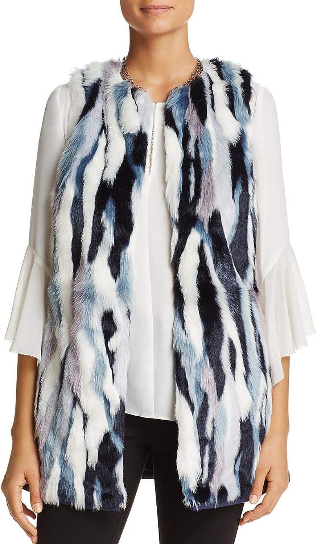 T Tahari Womens Dorinda Faux Fur Mixed Media Casual Vest
