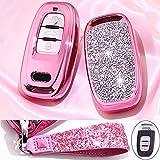 Royalfox(TM) 3 Buttons 3D Bling Smart keyless Remote Key Fob case Cover for Audi Old Key a3 a4 a5 a6 a7 with Keychain (not fit Panic Key)(Pink)