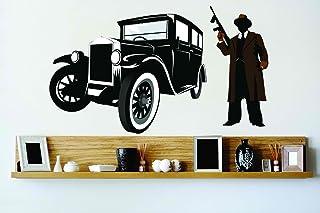Design with Vinyl Cryst 148 169 As Seen Gangster Mafia Boss With Gun Old Fashion Hotrod Street Car Vinyl Wall Decal Art Ho...