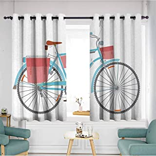 duommhome Bicycle Sliding Curtains Classic Touring Bike with Derailleur and Saddlebags Healthy Active Lifestyle Travel Privacy Protection 72