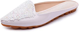 Stylein Womens Sequins Slip On Leather Mules Pointed Toe Flat Loafers