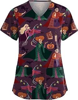 YOYHX Womens T-Shirt Working Uniform with Pocket Casual Halloween Printing_Scrub Short Sleeve V-Neck Tops