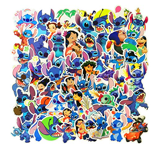 Lilo Stitch Anime Cartoon Stickers(55pcs) Car Stickers Water Bottle Stickers for Snowboard Laptop Luggage Motorcycle Bicycle Fridge DIY Styling Decoration Vinyl Decals(Lilo Stitch)