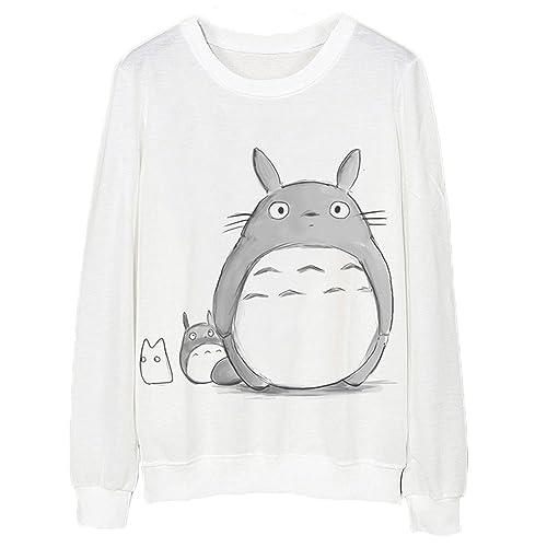 46d15c8a98 ACEFAST INC Women Cartoon Totoro Sweatshirt Long Sleeve T-shirt Round Neck  Sweater Pullover Shirt