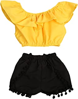 Cute Baby Girls Short Sleeve Blouse Tube Top+High Waist Pom Pom Short Pants