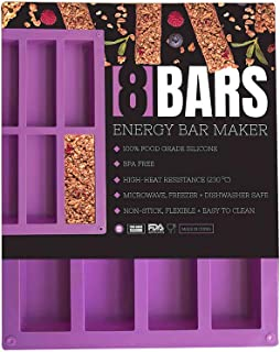 Premium Food Grade Silicone, 8 Cavity, Purple Nutrition/Energy/Cereal Bar Mold by 8Bars Energy Bar Maker, Flexible, High-Heat Resistant, Non-Stick, Dishwasher, Freezer, Microwave Safe Silicone Mold