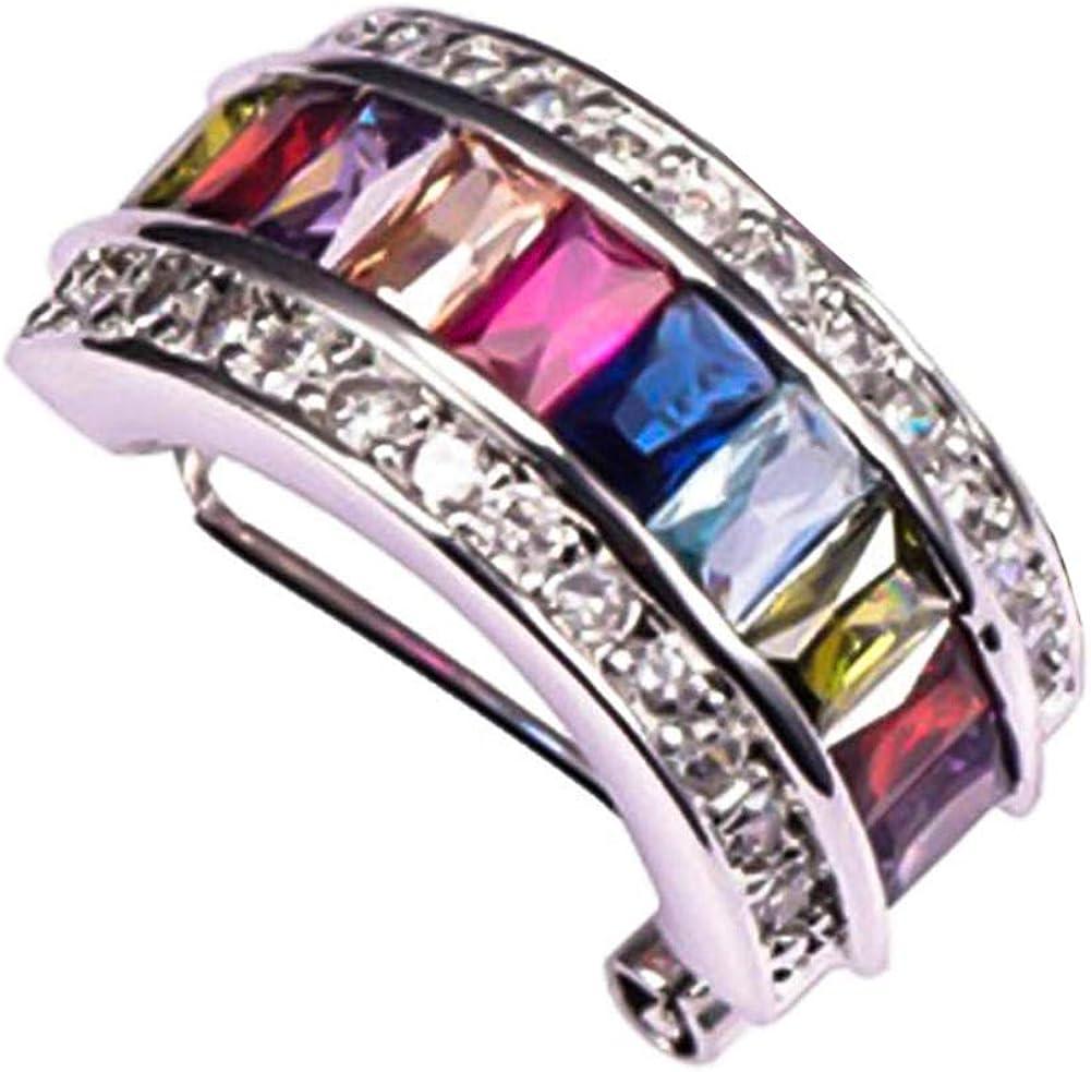Gsdviyh36 1Pc Glitter Colorful Rectangular Faux Gem Rhinestone Lady Ear Cuff Clip Earring, Valentines Costume Jewelry Gift for Women Girls