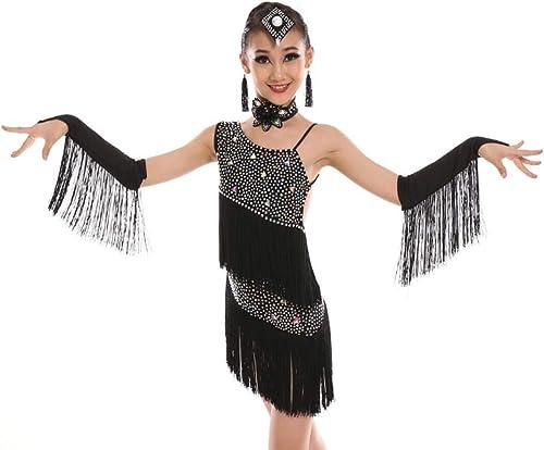 YZLL Robe de Danse Latine pour Enfants, Enfants Enfants Sequin Fbaguee Stage de scène Costume de Danse Costume Blanc Violet Vert Noir
