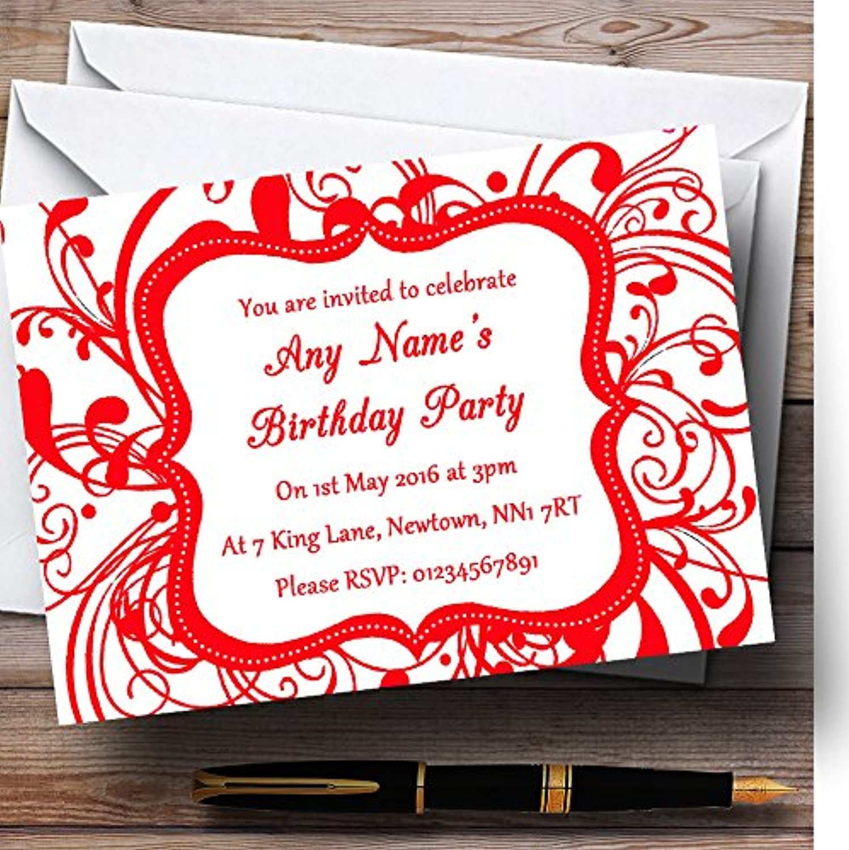 White & Red Swirl Deco Personalised Birthday Party Invitations   Invites & Envelopes