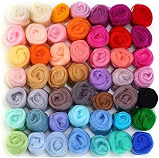WOWOSS Fieltro lana hilo de fibra de lana Roving 50 colores de lana suaveLana Suave para Manualidad DIY Muñecas de bricolaje
