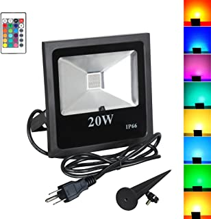 T-SUN 20W RGB Flood Lights, Outdoor Color Changing Waterproof LED Security Lights RGB Spotlights with Remote Control & US Plug for Garden, Warehouse, Sidewalk, Yard, Garage (20W)