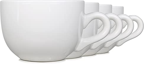 Serami 22oz White Ceramic Large Soup or Cappuccino Bowl Mugs with Thick Walls, Set of 4