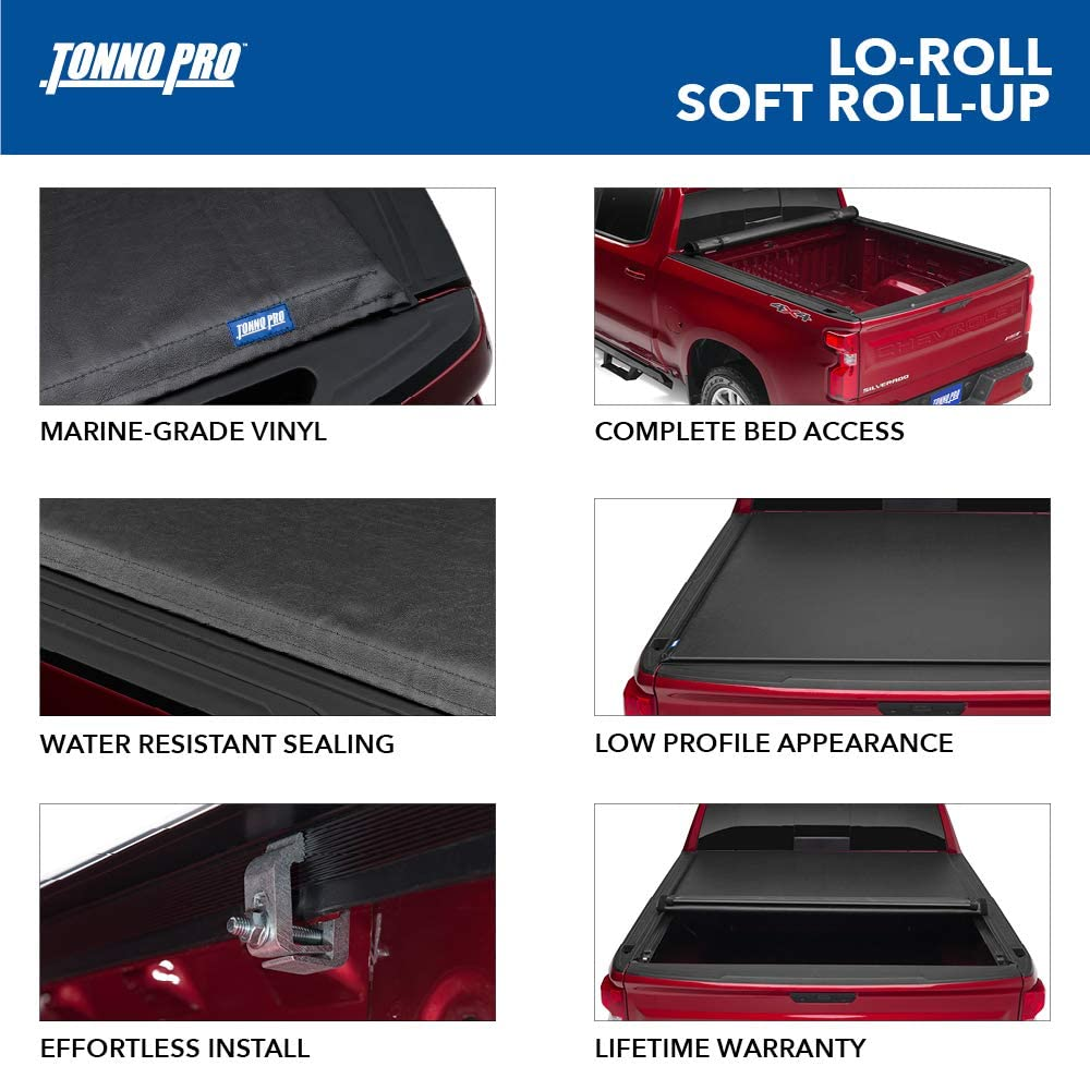 Fits 2019-2020 Ford Ranger 5 Bed Soft Roll-up Truck Bed Tonneau Cover Tonno Pro Lo Roll LR-6000