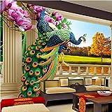 Weaeo Sala 3D De Papel Tapiz Mural De Pared De Pavo Real Flor De Magnolia Paisaje Para Sala De Estar Tv Personalizado Cualquier Tamaño Foto Murales-400X280Cm